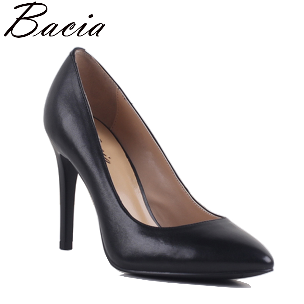 Bacia Women Black Sheepskin Pumps Women's Handmade Quality Leather Shoes 9.8cm High Heels Pointed Toe Pumps Sexy Thin Heel MB031 2016 luxury designer brand pearl nubuck leather women s shoes pumps high heels sheepskin shoes top quality pointed toe shoes