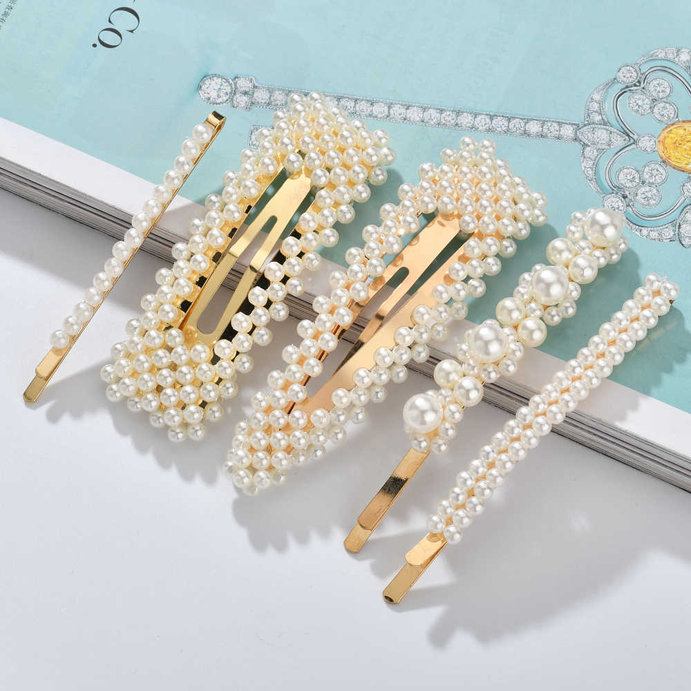 MESTILO handmade Gold Color 1PC Imitation Pearl Hair Clip Snap Barrette Stick Hairpin Hair Styling Accessories For Women Girls