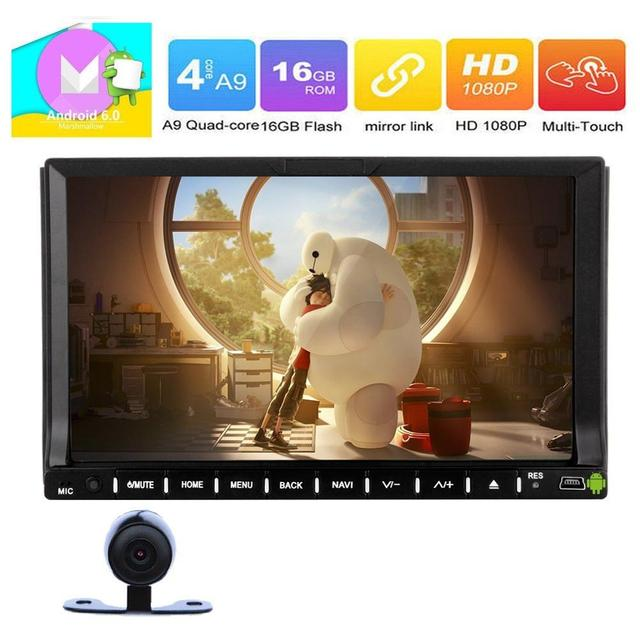 2Din 7''Android 6.0 Car Stereo DVD Player Built-in AM/FM Bluetooth GPS Navigation Steer Wheel Control MirrorLink+Rearview Camera