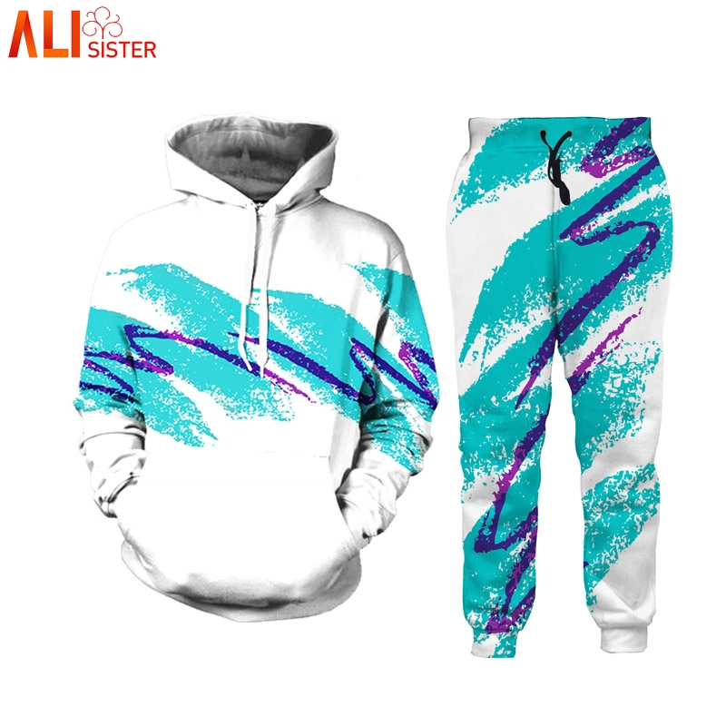 Alisister 2pcs Sets 3D Paper Cup Hoodies Pants 90s Jazz Solo Sweatshirts Trousers Men Women Harajuku Tracksuit Suits Hooded Tops
