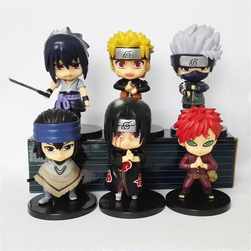 6pcs/Lot 9 11CM Anime Naruto Figure Uzumaki Naruto Sasuke Kakashi Gaara Itachi Gekko Hayate Modle Doll Gifts For Children