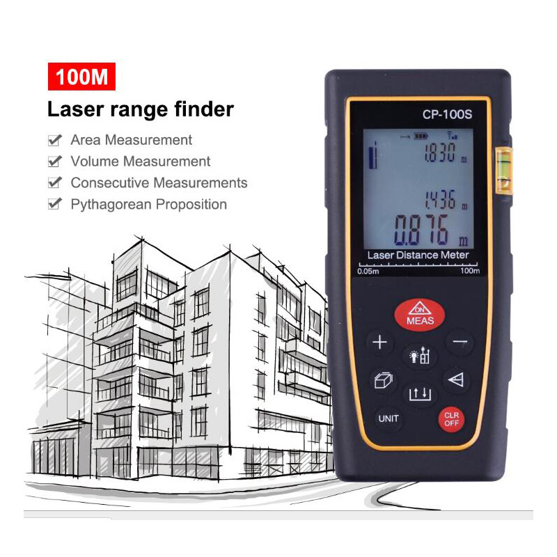 Télémètre Laser Portable télémètre Laser numérique 100M avec télémètre à bulles horizontales pour construire un équipement de mesure