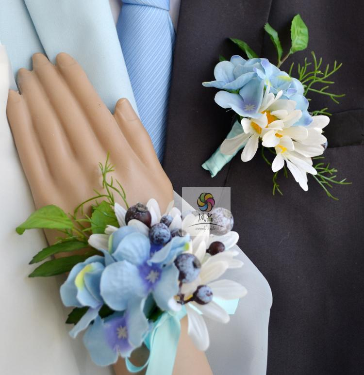 Wedding Flowers Corsage Ideas: Handmade Corsages Hydrangea Bridal Wedding Supplies Groom