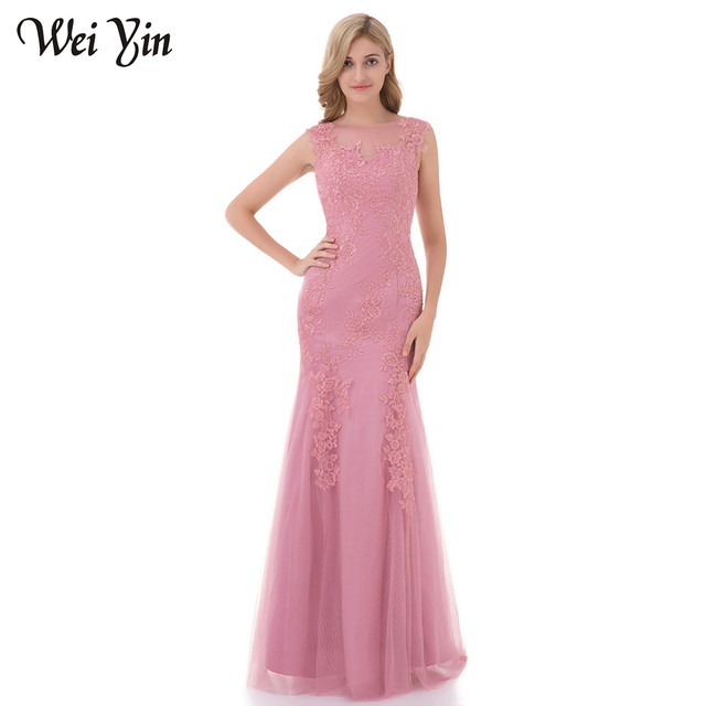 WeiYin Robe de Soiree Long Mermaid Evening Dress Pink Color Lace Tulle Long  Floor Length Backless Real Picture Party Prom Dress 8164bcae429d