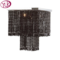 Square Design Modern Black Crystal Chandelier Living Room Dining Room Home Crystal Lighting Fixture LED Lustres