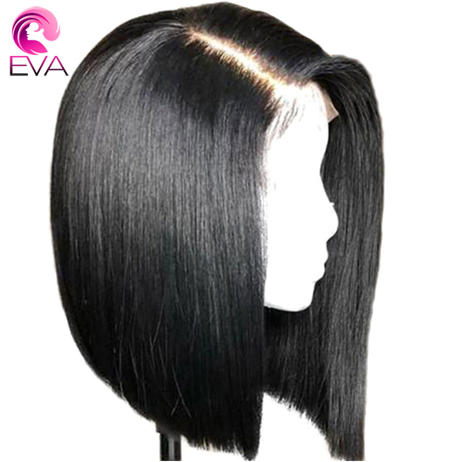 Eva Hair Short Bob Straight Hair Wig 360 Lace Frontal Wigs Baby Hair Pre Plucked Hairline Bleached Knots Brazilian Remy Hair Wig