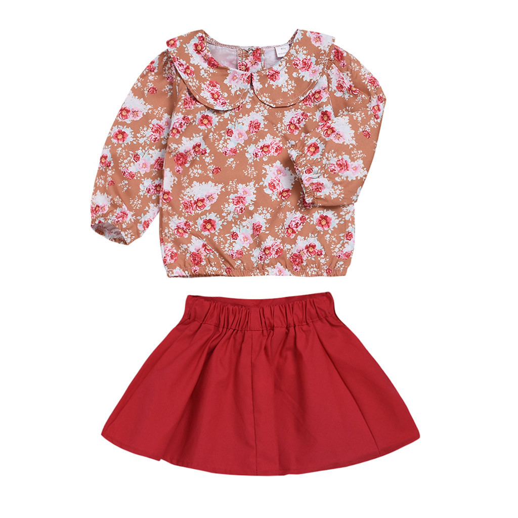 2Pcs Toddler Infant Baby Girls Floral Print Tops T-shirt Print Skirt Outfits Set 2019 Cute Newborn Infant Toddler Baby Girl