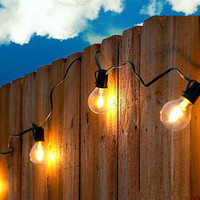 2M 10 Warm White 1W G40 LED Bulbs Commercial Outdoor Wedding String Light Globe Patio Yard
