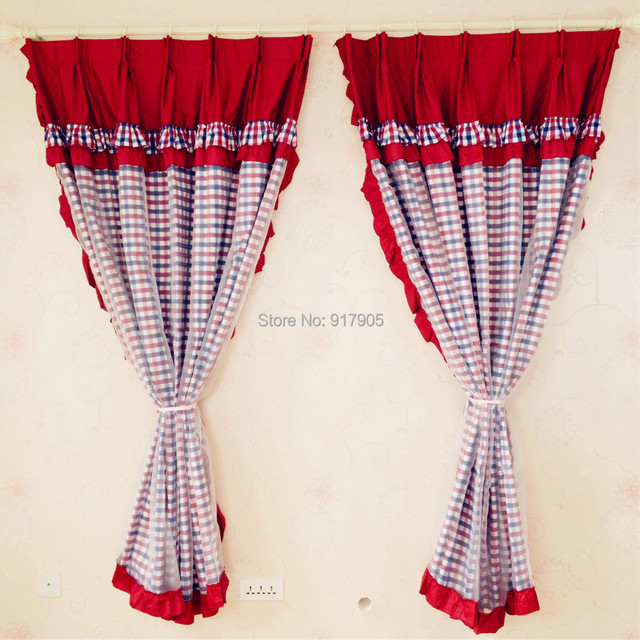 Elegant Red Gingham Print Living Room Curtains Drapes Designer Custom Made  Curtins Modern Home Goods Curtains