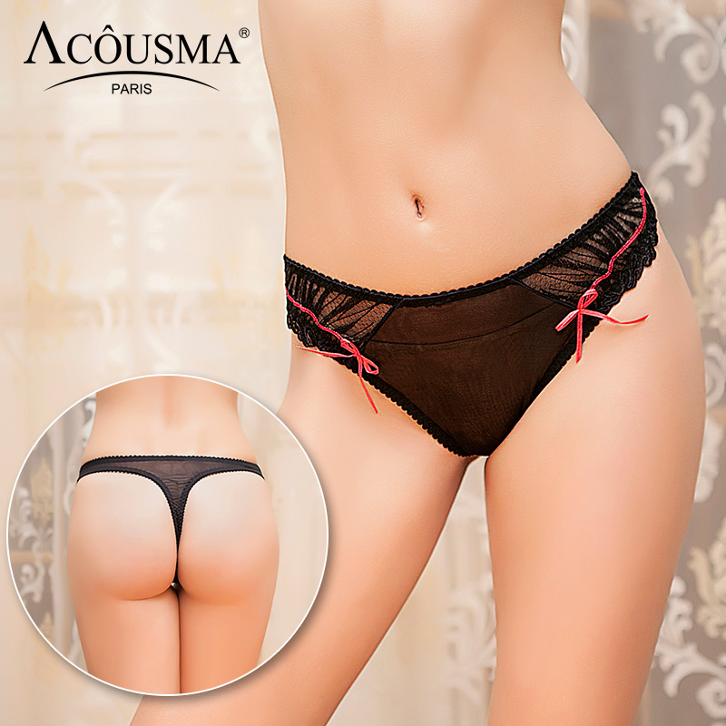 Buy ACOUSMA Women Transparent Ultra thin Lace Ribbon T Back Thongs Panty Sexy Female Panties Embroidery Underwear Soft Black White
