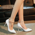 2017 New Fashion Pointed Toe Ankle Strap Women Pumps String Bead Thin High Heels 9.5CM Dress Female Shoes Black White Pink Red