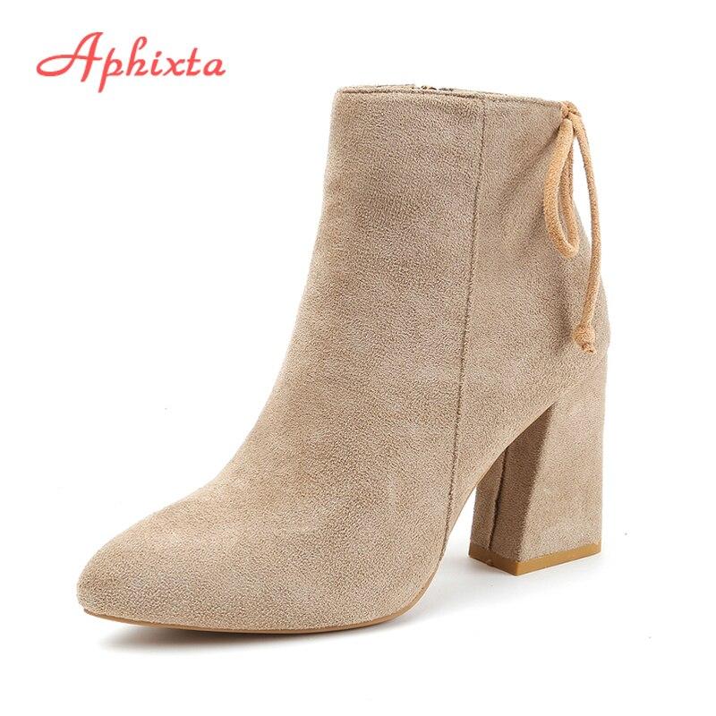 Aphixta Women Classics Ankle Boots Kid Suede Soft Shoes TPR Anti-Skid Women Boots High Heels Zipper Causal Ladies Footwear