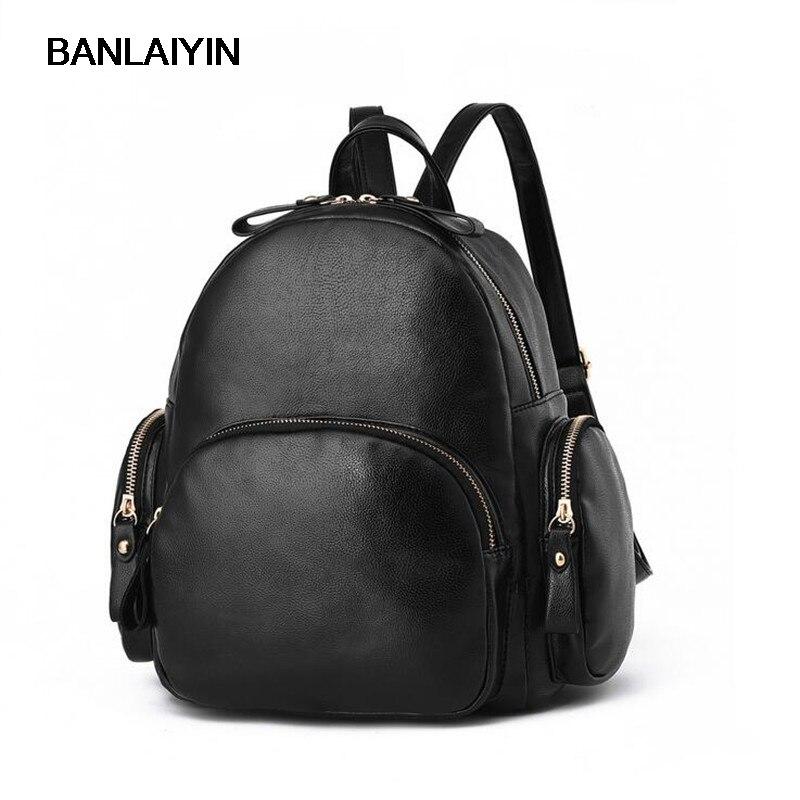 Korean Nice Fashion Women Leather Backpacks PU Leather Casual Shoulder School Bags Teenagers Girls College Backpack