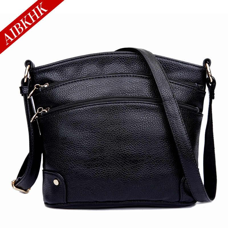 AIBKHK New Simple Cow Spl Leather Crossbody Bags for Women Messenger Bags  Handbags Women Famous Brands