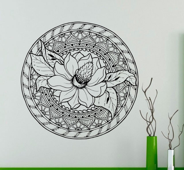 Lotus Flower Ornament Wall Decal Mandala Vinyl Sticker Indian Art Decor Home Room Office Club Salon Bar Restaurant Mural