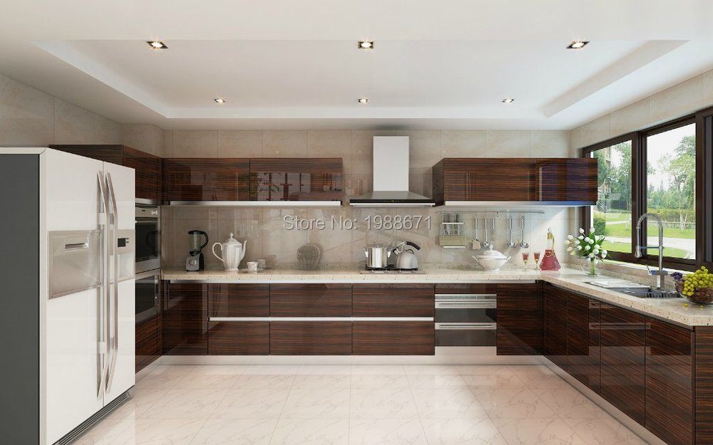 Mdf Kitchen Cabinet Doors Modern High Gloss Wood Veneer Lacquer Cabinets Sfkkcp3002 In From Home Improvement On Aliexpress