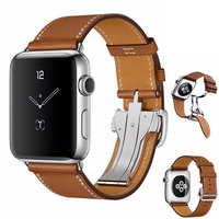 Upscale Folding Buckle Genuine Leather Band for Apple Watch Band Leather 44mm 42mm 38mm 40m Bracelet Belt for Iwatch 4 3 2 Strap