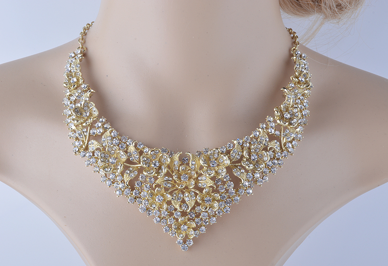 Crystal women wedding jewelry sets golden plated flower deisgn Bridal party necklace earrings set AB crystal jewelry accessories 5