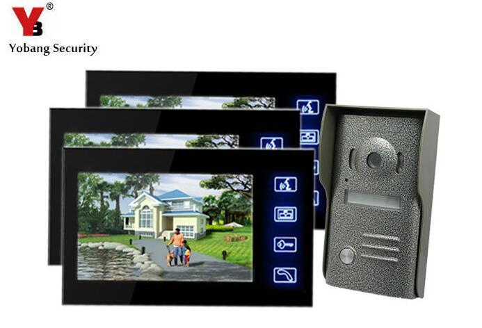Yobang Security 7Video Door Phone Speakerphone Intercom System Visual Doorbell IR Metal Outdoor Camera Color Door Monitor