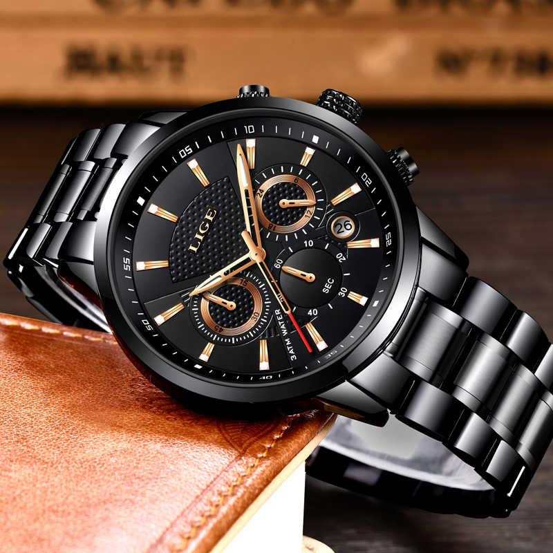 LIGE Mens saatler üst marka lüks moda iş quartz saat erkekler spor tam çelik su geçirmez siyah saat relogio masculino