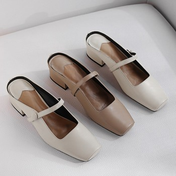 MLJUESE 2019 women slippers Cow leather summer square toe slip on low heels beaches sandals mules party wedding dress