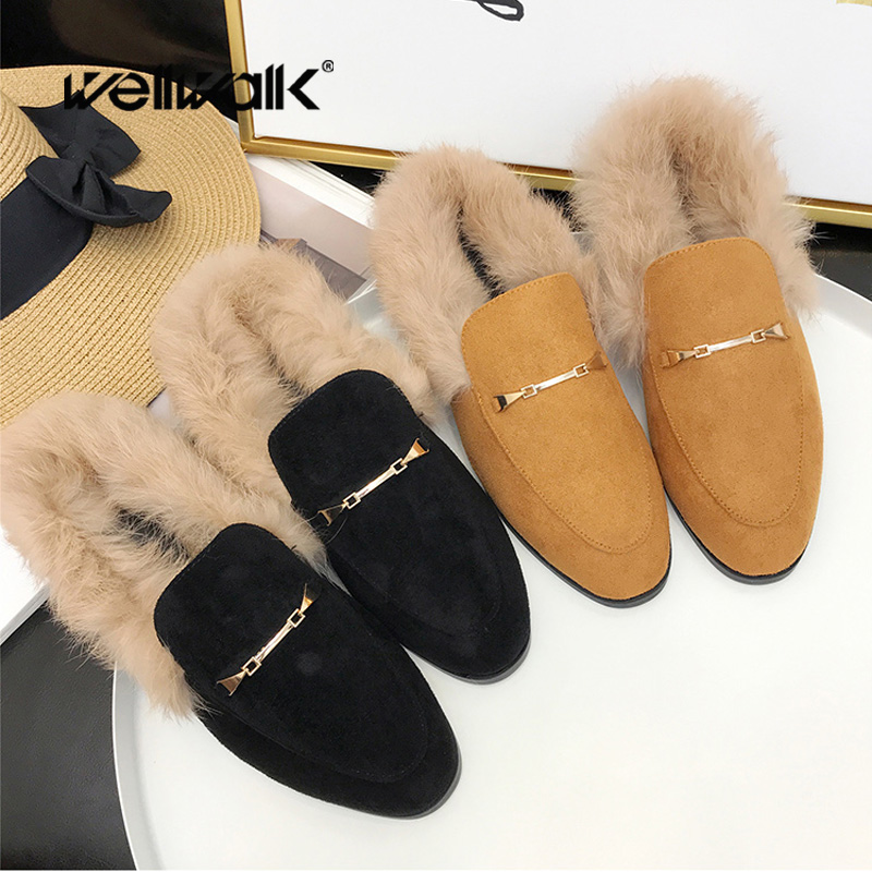 Luxury Buckle Mules Women Fur Slippers Flock Sliders Shoes Ladies Fluffy Slippers Winter Mules Home Slipper Slip On Casual Flats