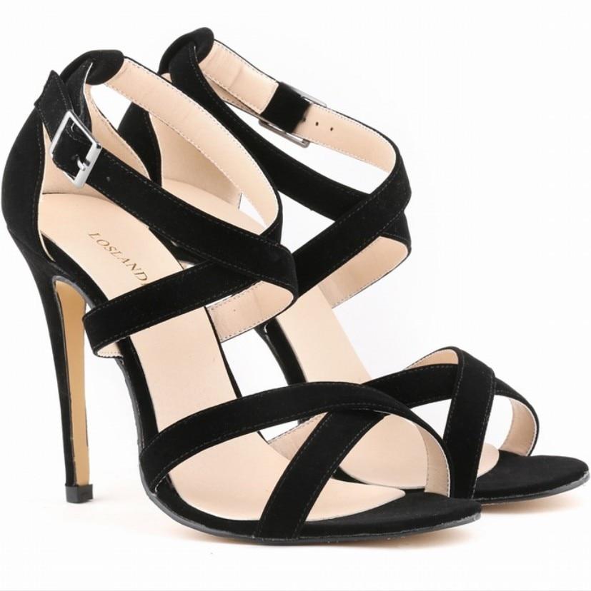 11 color summer leisure comfort flannel suede stilettos sexy sandals cross-strap gladiator ankle strap open toe pumps Plus Size