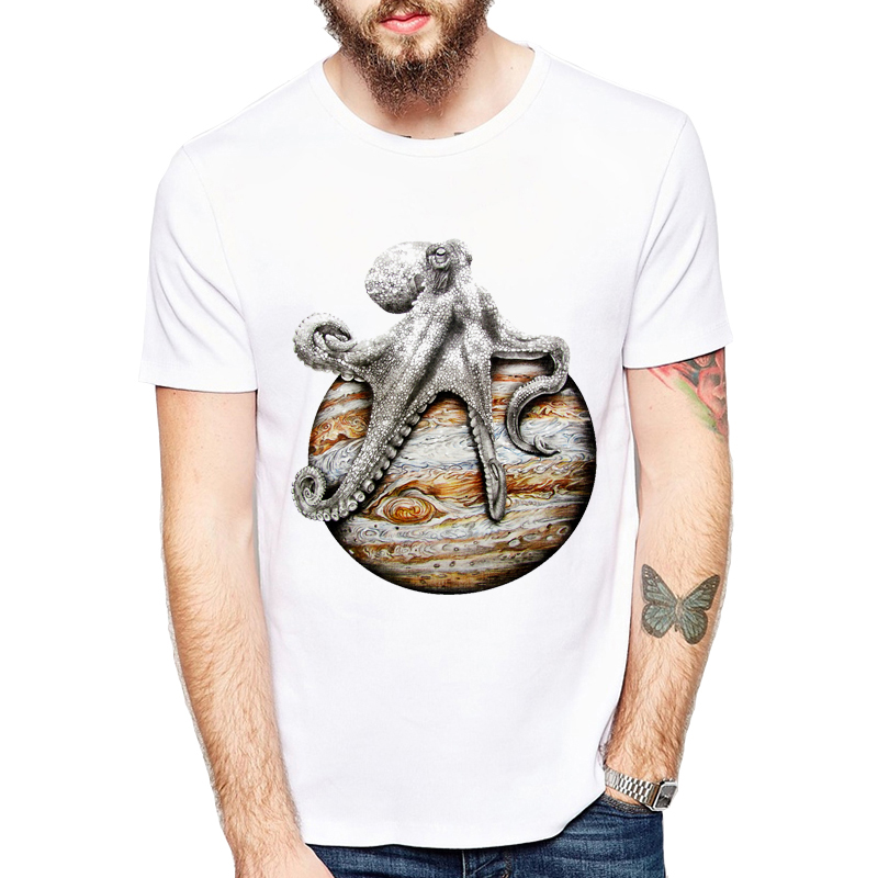 Celestial Body octopus Printed Graphic Tees Tee Shirt Homme Funny animal Camisa Masculin ...
