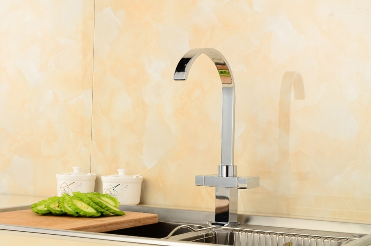 Kitchen sink basin faucet mixer hot and cold tap, Copper kitchen faucet pull down, Rotated single hole dish basin faucet chrome kitchen faucet basin hot