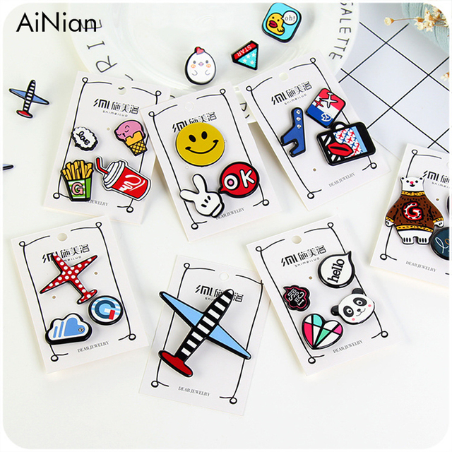 AiNian 1-4 pcs/set Creative Cartoon Bear Panda Heart Music Note Smile Airplane B