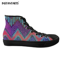INSTANTARTS Chevron Colorful Printing Ladies Vulcanized Shoes High Top Black Sole Breathable Light Weight Walking Sneakers Shoes