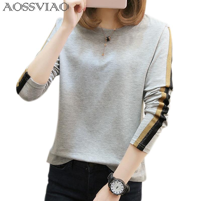 AOSSVIAO plus la taille t-shirt femmes t-shirts lâche 2018 nouvelle mode o-cou à manches longues t shirt femmes tops coton t-shirt femme