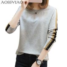 AOSSVIAO plus size t shirt women t-shirts loose 2019 new fashion o-neck long sleeve t shirt women tops cotton tee shirt femme недорого