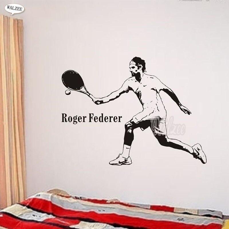 10 pcs/Pack Roger Federer vinyle Sticker mural 3D joueur de Tennis affiche décalque bricolage décor amovible papier peint