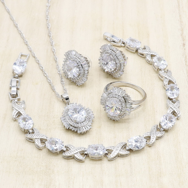 White AAA Zircnoia Silver Jewelry Sets with Bracelet for Women Necklace Pendant Stud Earrings Ring Birthday Wedding Jewelry