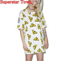 Tee Shirt Femme De Marque 2016 Ete Summer Style Short Sleeve Harajuku Banana Girl T Shirt
