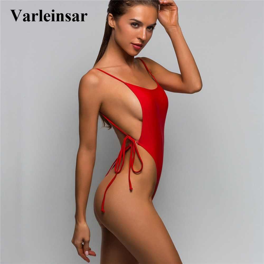 abf5f35e8259b 5 Colors 2019 Sexy High Cut Leg Thong One Piece Swimsuit Women Swimwear  Female Bather Bathing