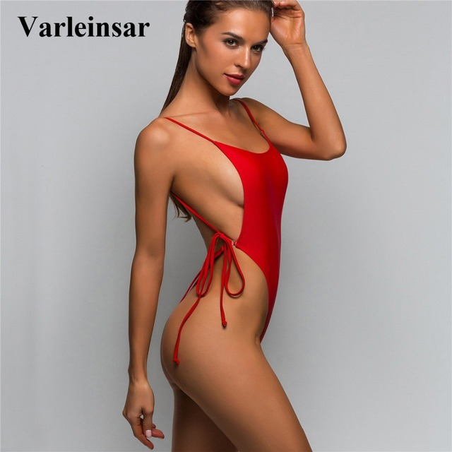 bb34c55e48c 5 Colors 2019 Sexy High Cut Leg Thong One Piece Swimsuit Women Swimwear  Female Bather Bathing