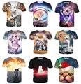 Harajuku encabeça gato do espaço / explosão gato t-shirt astronauta kitty galaxy 3d T camisa estilo verão moda T dos homens das mulheres 18 estilo