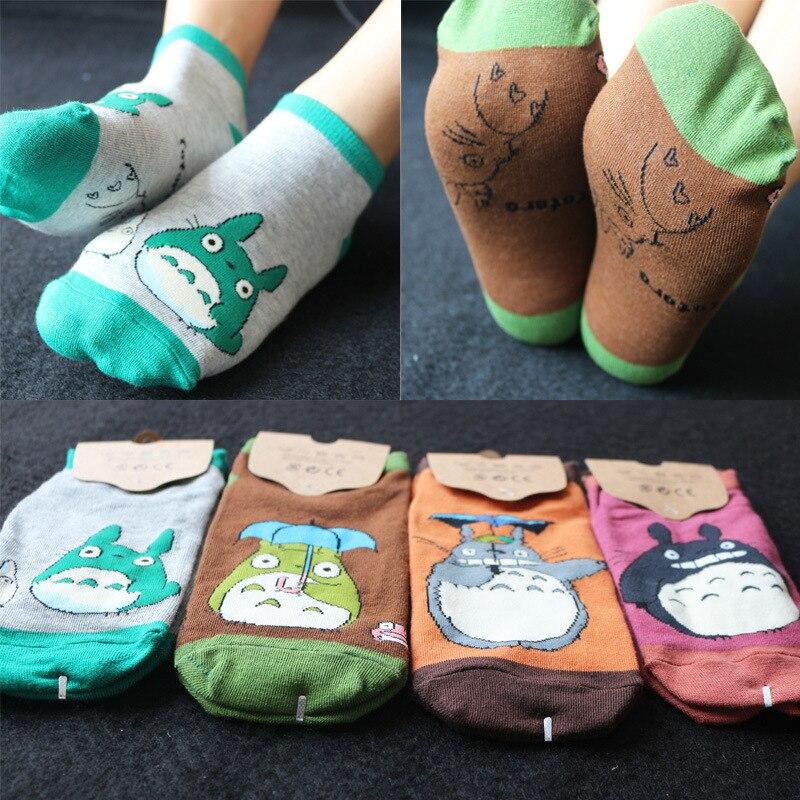 Meias de algodão femininas do anime, meias com desenho animado no tornozelo