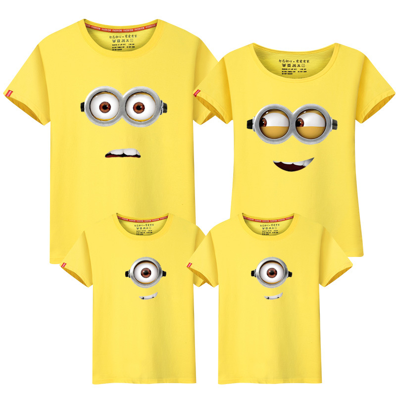 Family Matching Outfit Summer Short Sleeve T Shirt Top Clothes Cotton Cartoon Minions Mother Father Son Daughter Dresses LD10052