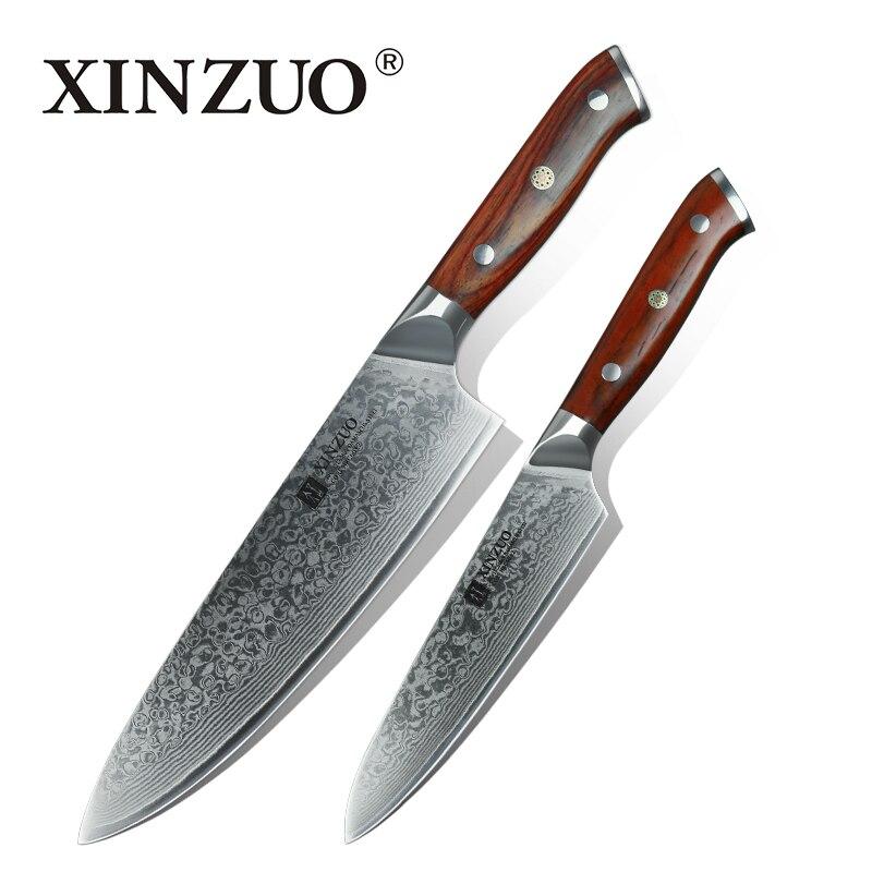 XINZUO 2 stücke Küchenmesser Sets Japanischen Damaskus Stahl Küche Messer Sharp Gyuto Chef Utility Kochen Werkzeug mit Palisander Griff