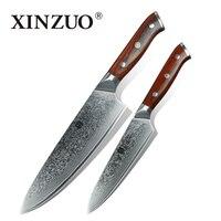 XINZUO 2 unids gyuto chef cuchillos de cocina set de cocina de acero Japonés Damasco cuchillo cocinero utilidad herramienta mango de palo de rosa envío gratis