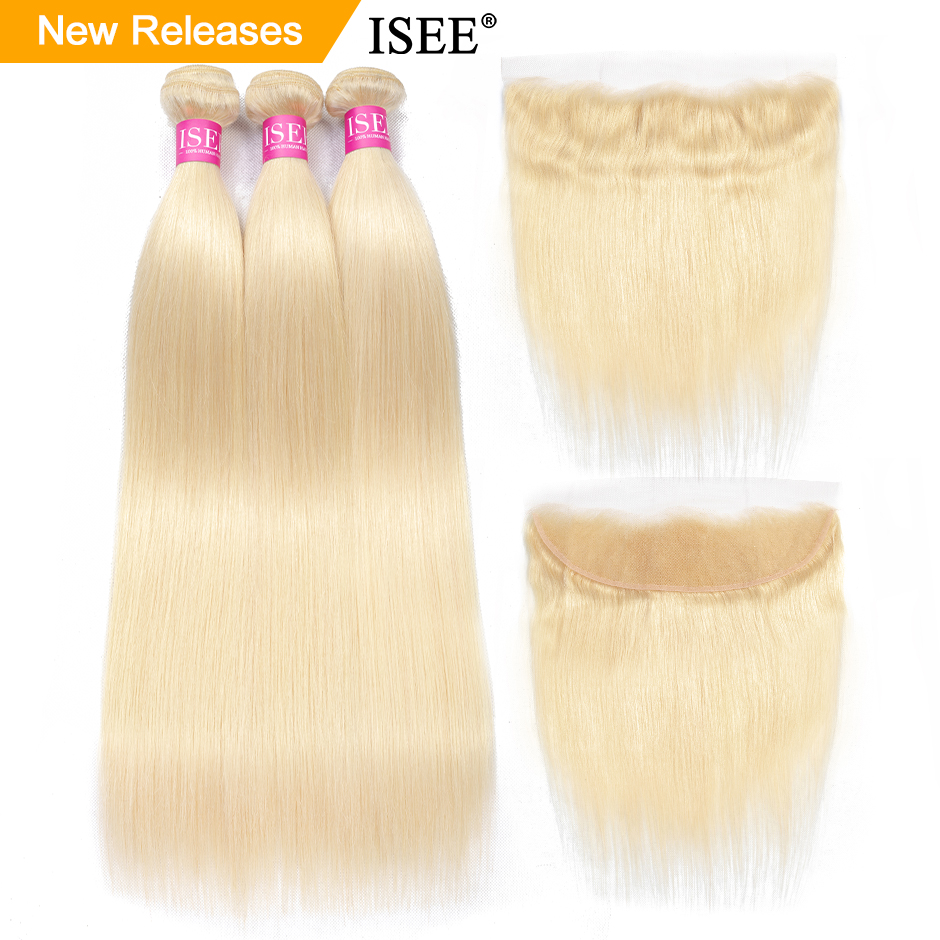 Straight 613 Bundles With Frontal Virgin Hair With Frontal Blonde Bundles With Closure ISEE HAIR Brazilian Hair Weave Bundles image