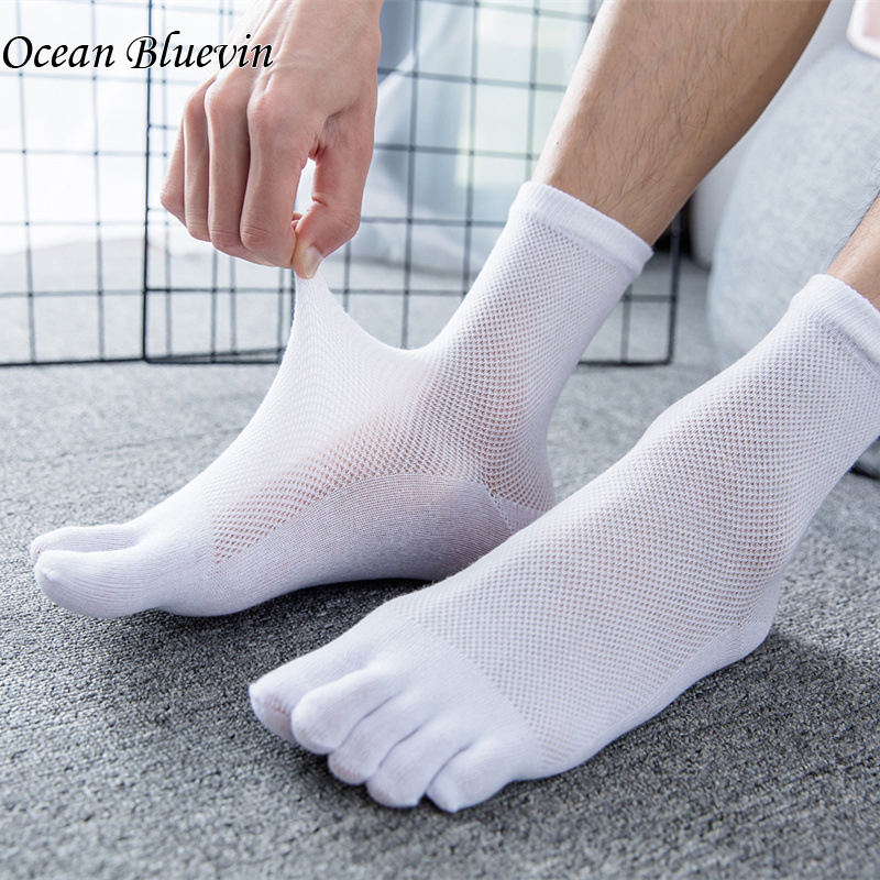 New Summer Autumn Soild Thin Five Toe Men's Business Sheer Socks Male Cotton Low Cut Ankle Breathable Mesh Boat Cotton Toes Sock