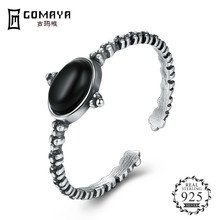 GOMAYA Authentic 100% 925 Sterling Silver obsidian Open Finger Rings for Women Crystal Jewelry Christmas Gift