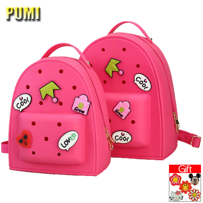 Women Candy Colors Cute Cartoon Medal Silica Gel Small Backpack for Teenager Girl Kid Children Sweet Kawaii Lolita Bag Jelly Bag