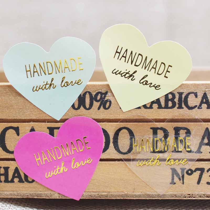 Zerong100pcs/lot Heart Shape Thank You DIY Scrapbooking Paper Tags Gold Foil Handmade Sticker Lables For Wedding Decoration