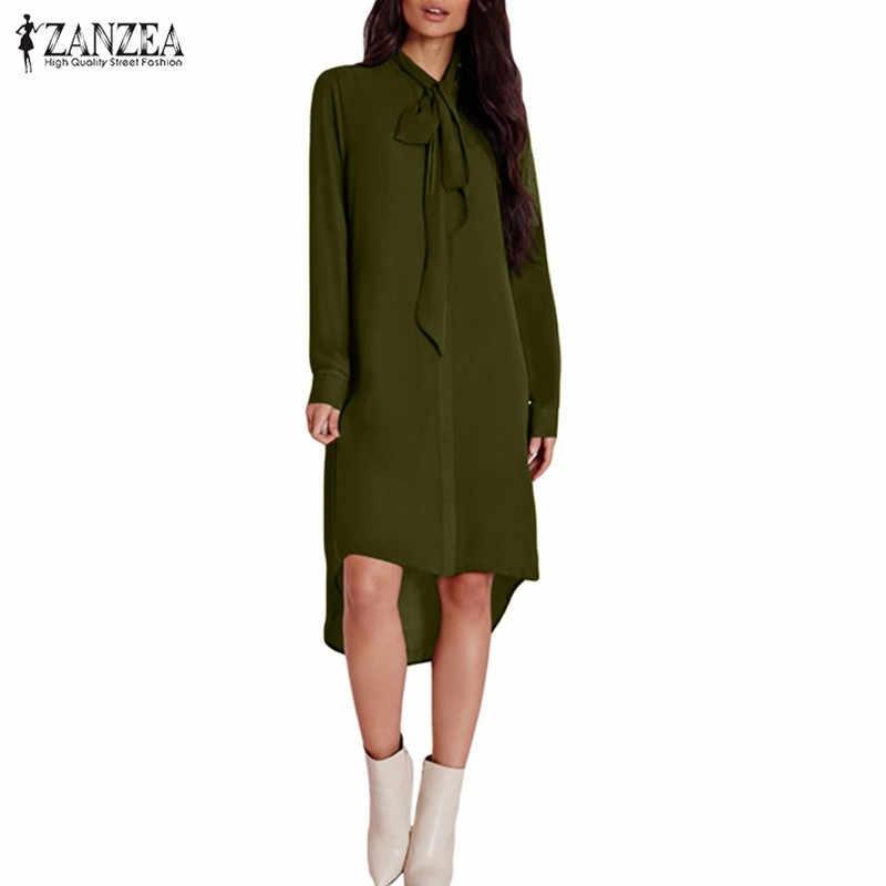 Blusas Femininas 2019 ZANZEA Женский Повседневный свободный из шифона рубашки элегантная необычная блузка с длинными рукавами Топы Плюс Размер Blusas