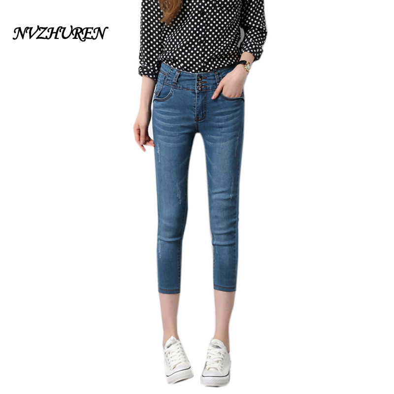 NVZHUREN Plus Size High Waist Jeans For Women Summer Calf Length Women Stretch Jeans Ladies Female Slim 3 Buttons Pants rosicil new women jeans low waist stretch ankle length slim pencil pants fashion female jeans plus size jeans femme 2017 tsl049